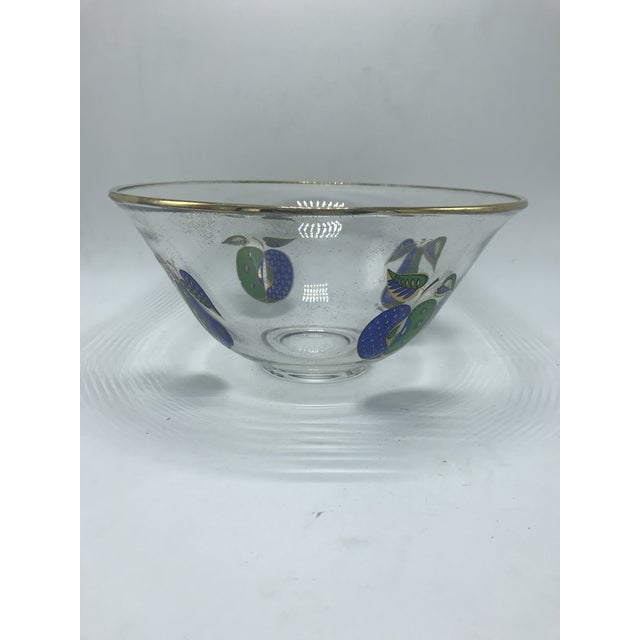 Mid-Century Modern 1960s Vintage Mid Century Georges Briard Gold Rimmed Glass Bowl With Fruit For Sale - Image 3 of 11