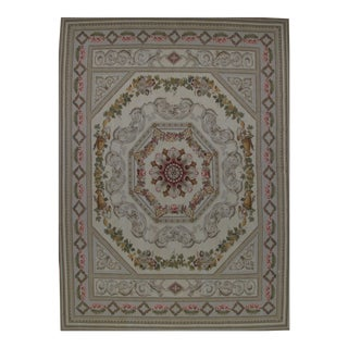 French Aubusson Design Hand Woven Wool Rug - 9' X 12' For Sale