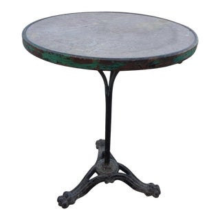 19th Century French Iron Bistro Table With a Stone Top For Sale