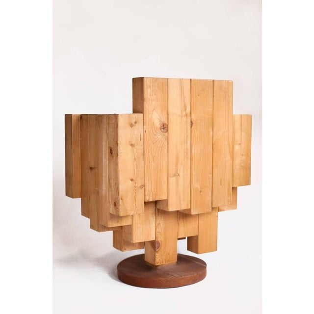2000 - 2009 Giorgio Marian Italian Sculptural Cubist Pine Wood Armchair For Sale - Image 5 of 8