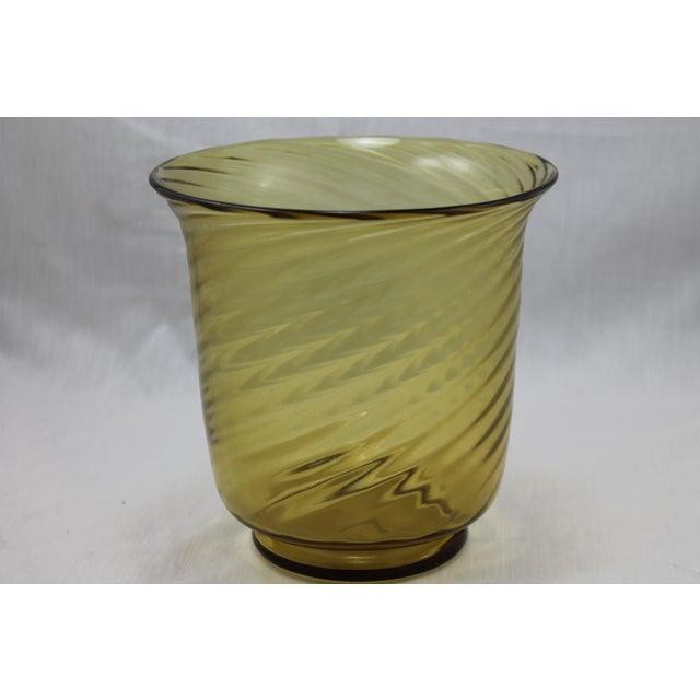 Art Deco Stunning Art Deco Steuben Glassworks Amber Colored Swirl Vase For Sale - Image 3 of 9