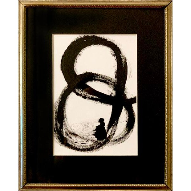 Contemporary Abstract Mid-Century Inspired Black and White Acrylic Painting, Framed For Sale