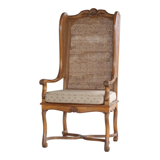 1920s Hollywood Regency Cane Wingback Chair For Sale