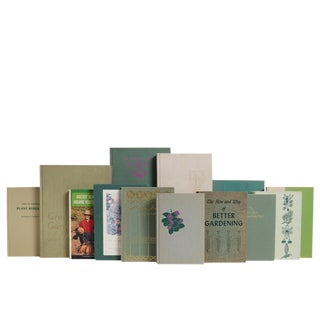 Vintage Wheat & Sage Gardening Book Set, S/20 For Sale