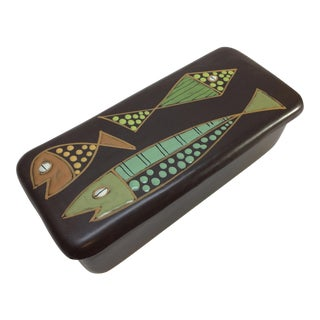 1960's Raymor Fish Motif Pottery Box