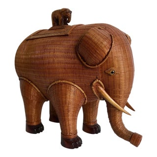 1960's Intricately Woven Rattan Elephant Sculptural Box With Baby Elephant For Sale