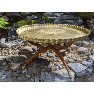 """Middle Eastern Moroccan 36"""" Round Etched Brass Low Coffee/Tea Tray Table Preview"""