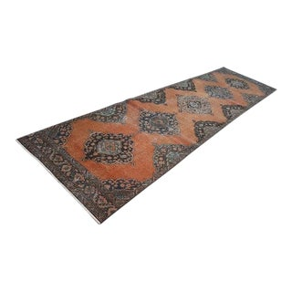 1970s Vintage Turkish Oushak Runner Rug - 3′8″ × 13′5″ For Sale