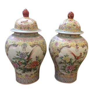 1960s Vintage Chinese Hand Painted Covered Jars - A Pair For Sale