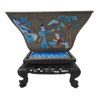 1940's Chinese Enamel Bowl With Stand For Sale