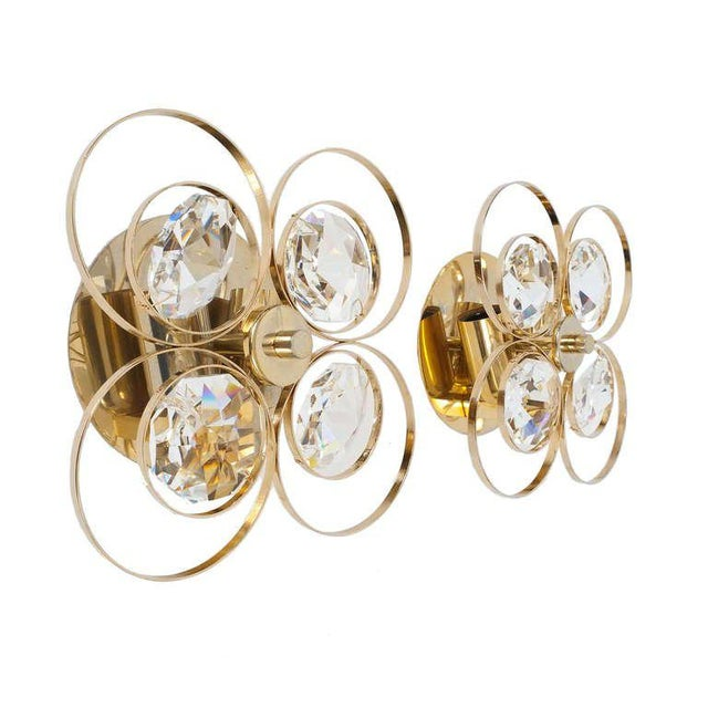 Gilded Brass Crystal Glass Bakalowits Sconces, Austria 1960 For Sale - Image 9 of 9