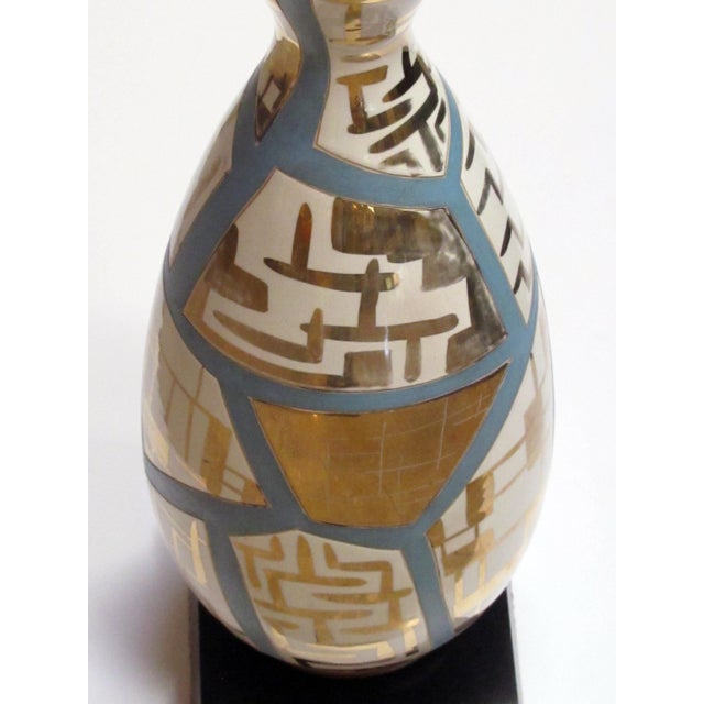 Mid-Century Modern Italian Mid-Century Bottle-Form Lamps With Gilt Geometric Decoration - a Pair For Sale - Image 3 of 8