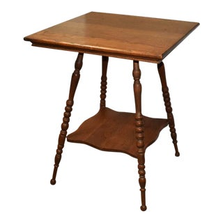19th Century American Classical Turned Leg Bobbin Plant or Side Table 2 Tier Wood Occasional Table For Sale