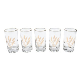 Mid-Century Juice Glasses With Gold Wheat Pattern - Set of 5 For Sale
