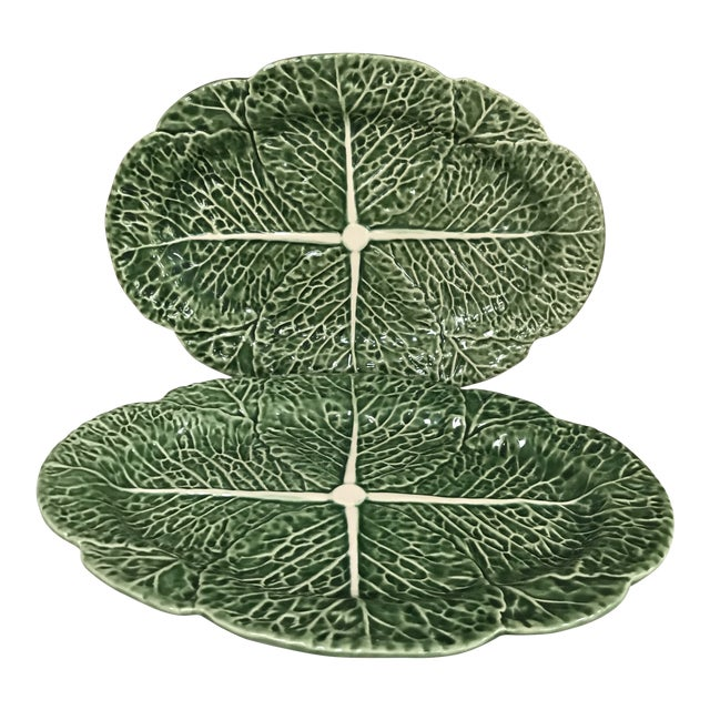 Bordallo Pinheiro Green Cabbage Majolica Oval Platters - Set of 2 For Sale