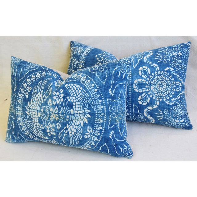 "Feather Blue & White Shanghai Batik Chinoiserie Feather/Down Pillows 23"" X 16"" - Pair For Sale - Image 7 of 11"