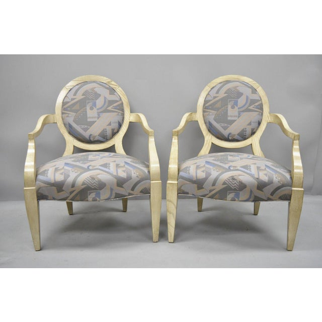 Hollywood Regency Late 20th Century Vintage John Hutton for Donghia Style Round Back Lounge Chairs- A Pair For Sale - Image 3 of 11