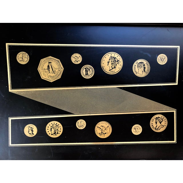 1950-60's Italian black and gold serving tray with coin design, in the style of Piero Fornasetti.