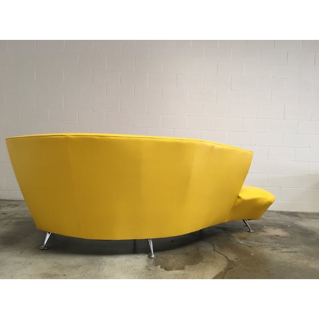 Abstract Vintage Modern Lather Kagan-Style Serpentine Sofa For Sale - Image 3 of 4