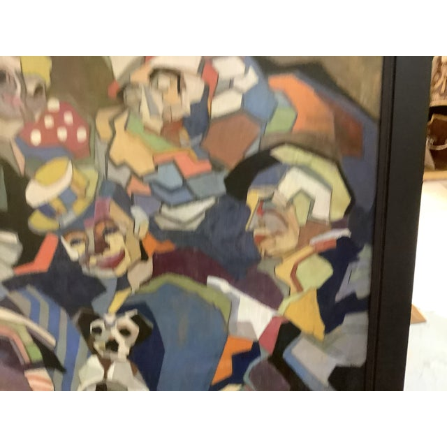Midcentury Cubist Style / Folk Art Clown Painting For Sale - Image 9 of 12