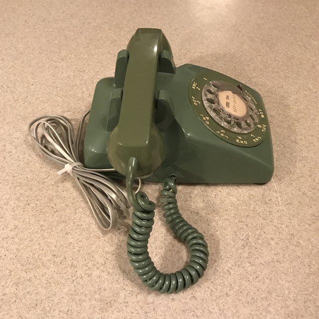 Metal Vintage Western Electric Green 500 Rotary Phone For Sale - Image 7 of 11
