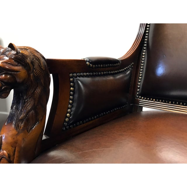Theodore Alexander Leather Lion Head Chairs - A Pair - Image 9 of 11