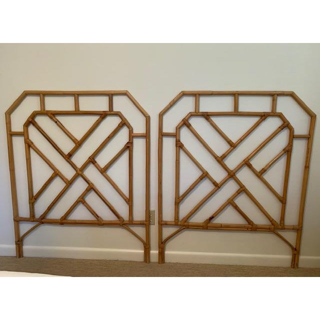 Wood 1960s Chippendale Style Rattan Twin Headboards - a Pair For Sale - Image 7 of 7