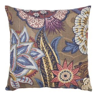 Schumacher Zanzibar Linen Print Pillow in Cerulean For Sale