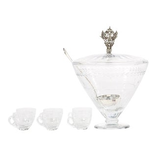 Large Cut Crystal Covered Punch Bowl Service / 8 People For Sale
