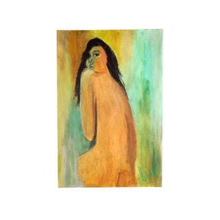 Vintage 1980s Nude Portrait of a Woman Painting Signed Dana For Sale