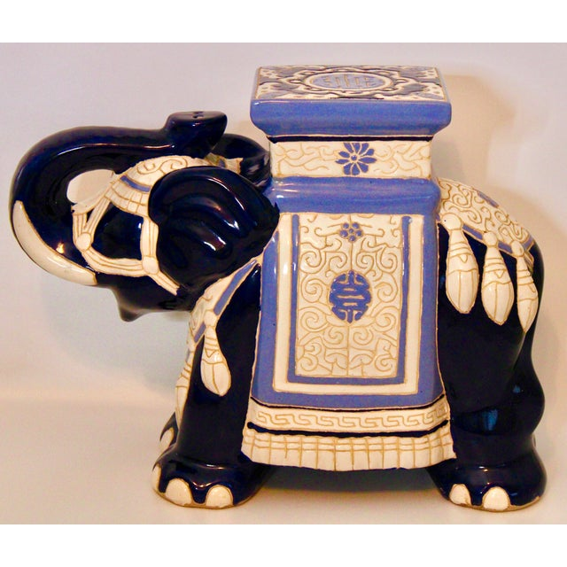 Vintage Blue and White Ceramic Elephant Garden Stool For Sale - Image 13 of 13