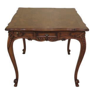 1990s French Karges Square Walnut Games Table For Sale