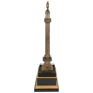 Large Grand Tour Gilt Bronze Model of the Place Vendome Napoleon Column in Paris For Sale
