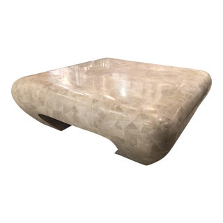 Vintage Maitland Smith Ming Scroll Tessellated Fossil Marble Stone Coffee Table For Sale