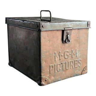 Early Mgm Movie Studios Film Reel Metal Lock Box For Sale