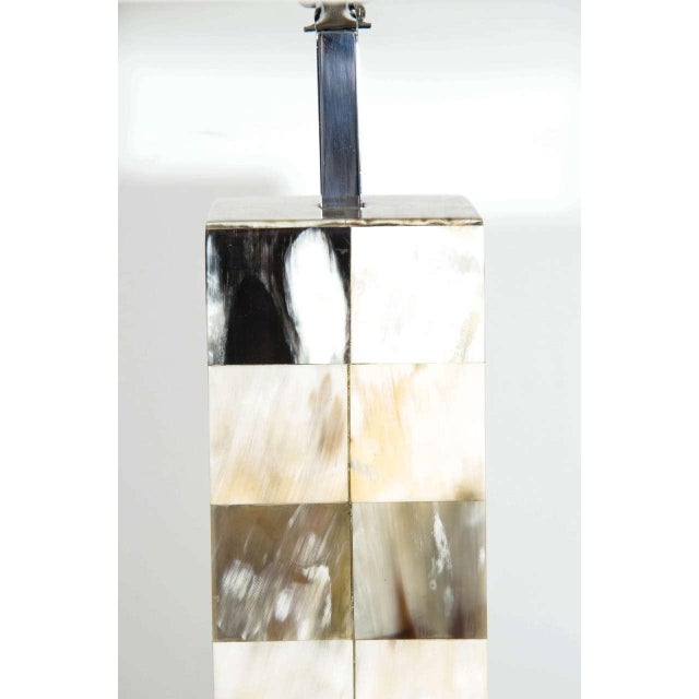 Bone Mosaic Genuine Horn Table Lamp For Sale - Image 7 of 8
