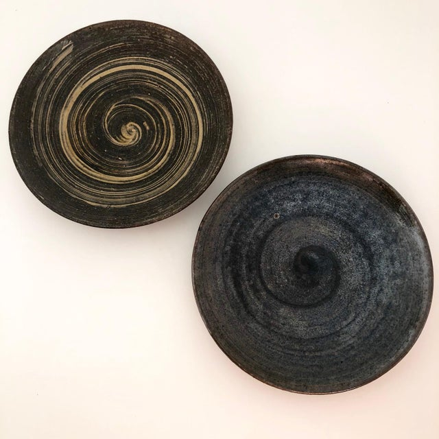 Handthrown Mid-Century Studio Pottery Plates - A Pair For Sale - Image 11 of 11