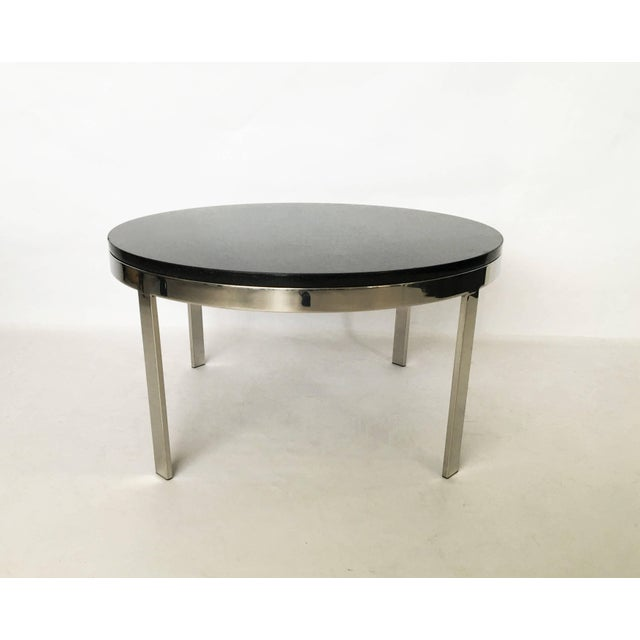 Chrome Milo Baughman Style Chrome and Granite Top Coffee Table For Sale - Image 7 of 7