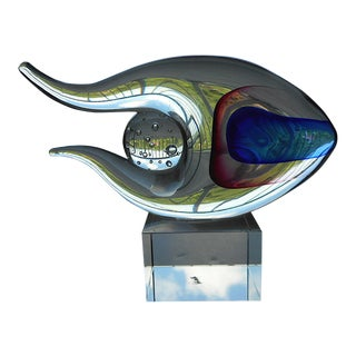Original Vintage Murano Hand Blown Art Glass Fish Sculpture For Sale
