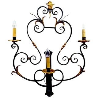 Large Paladio Wrought Iron and Gilt Italian or Spanish Style Sconce For Sale