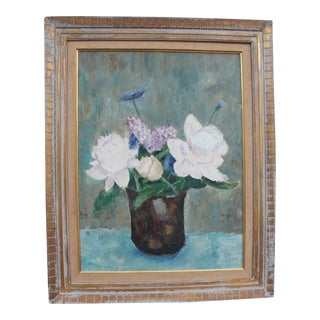 Vintage Expressionist Still Life of Flowers Painting For Sale