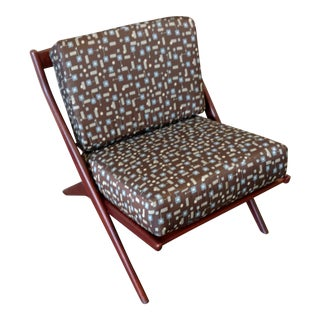 Teak Scissor Chair With Space Age Fabric by Folke Ohlsson for DUX For Sale
