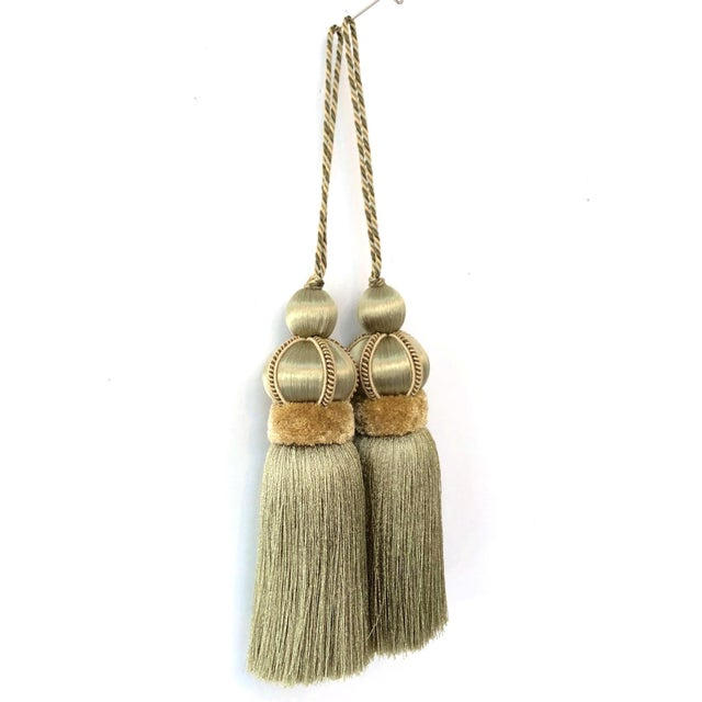 Olive Green Key Tassels With Cut Velvet Ruche - a Pair For Sale - Image 4 of 11