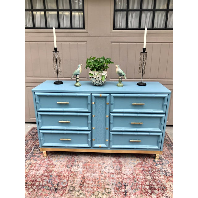 Vintage Faux Bamboo and Caned Dresser For Sale - Image 11 of 13