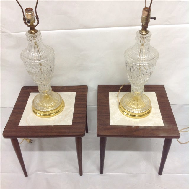 Hollywood Regency Crystal & Brass Lamps - A Pair - Image 3 of 5