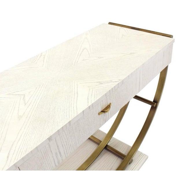 Thomasville White Pickled Oak Finish Brass U Shape Base Console Table For Sale - Image 4 of 10