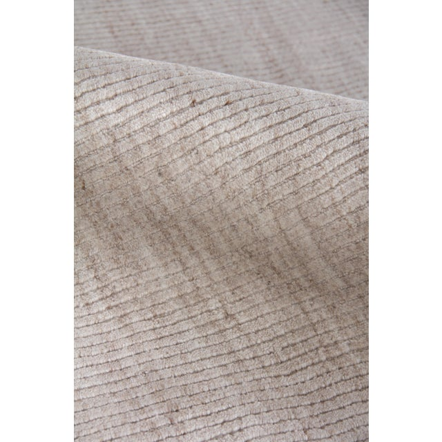 "Hamm Hand loom Wool/Viscose Light Beige Rug-6'x9"" For Sale In Los Angeles - Image 6 of 8"
