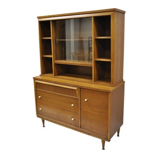 1960s Mid Century Modern Bassett Walnut Hutch China Cabinet For Sale