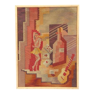 Mid 20th C. Modern Cubist Tapestry-Hand Woven-Cuba, Circa 1950's For Sale