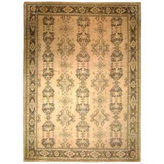 Vintage Turkish Oushak Rug, With Repeating Crab Design For Sale